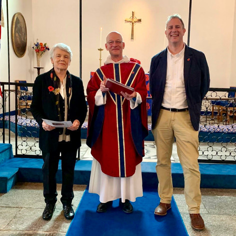 Penny, Fr Nigel & Brian on Remembrance Sunday 2019