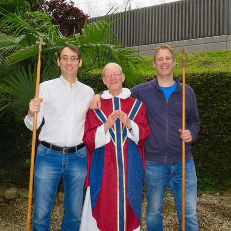 Fr Nigel with churchwardens Francesco (L) & Brian following re-election in 2019