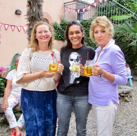Jenny, Nolene & Diana: Summer PIMMS BBQ in the Courtyard
