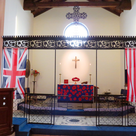 Sanctuary dressed for Remembrance Sunday