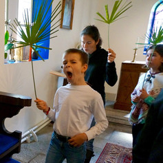 Palm Sunday Procession Hayden-style. Think he may have had a late night!