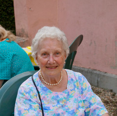 Sylvia at the Summer BBQ in the Courtyard