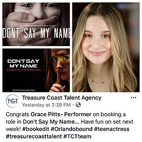 Proud of @gracejpitts for being cast in
