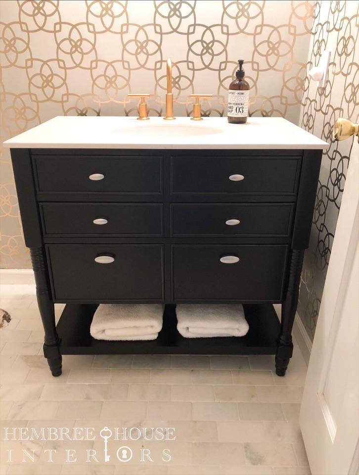 Miseno black vanity Kohler Purist faucet York Serendipity wallpaper