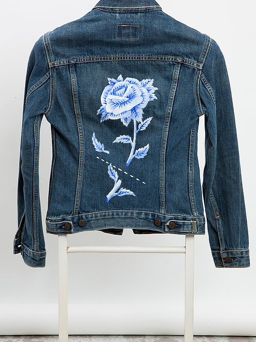 Handpainted Levi's Type III - Blue Rose