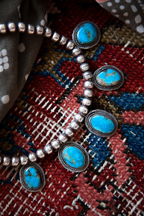 Vintage Navajo Pearl Turquoise Necklace