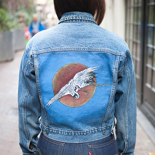Japanese Red-Crowned Crane & Rising Sun - Handpainted Denim Jacket
