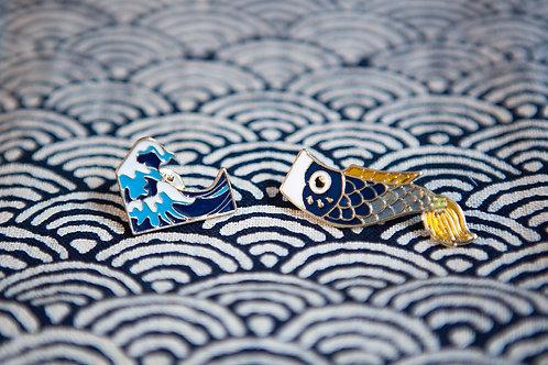 Kanagawa Enamel Pin Set