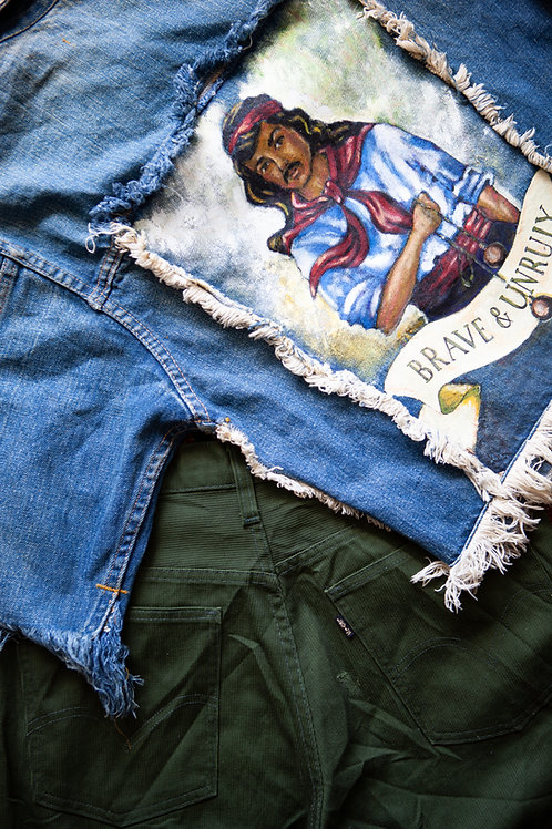 Gauchos Handpainted Denim Fringe Jacket