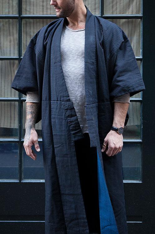 Antique Shima & Aizome Japanese Kimono / Noragi