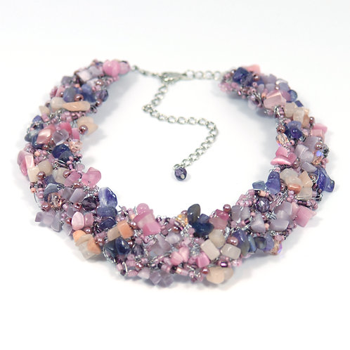 Necklace Crochet Large Rosee