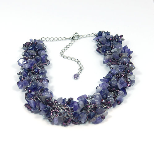 Necklace Crochet Large Amethyst