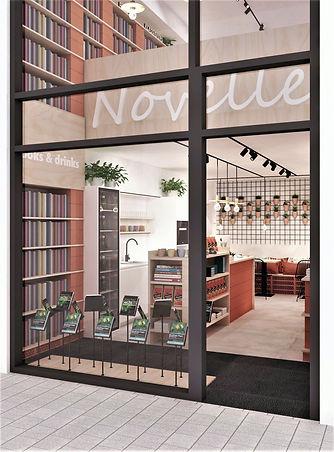 Zicht op de etalage van een boekenwinkel. Ontwerp 2018