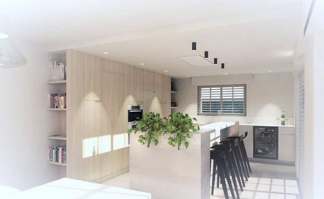 Render ontwerp keuken. Renovatie inrichting van een woning.