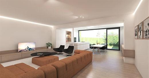 Inrichting rijwoning - zithoek, keuken en eetkamer in één ruimte.