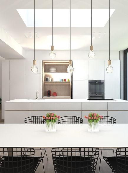 Render ontwerp keuken een eetkamer.