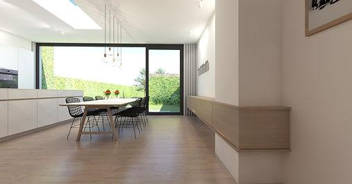 Inrichting leefkeuken - hangdressoir zorgt voor verbinding tussen de voorste en achterste ruimte.