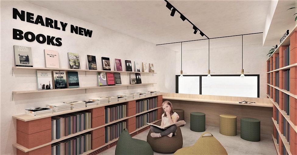 Circulaire afdeling voor een boekenwinkel. Inrichting op basis van snelbouwstenen en multiplex.