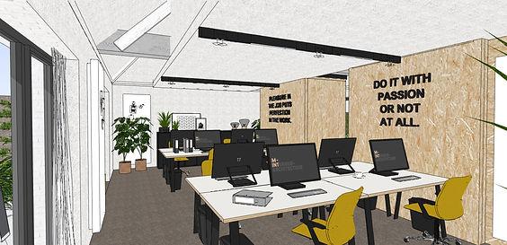 De workspace biedt plaats aan 8 vaste werkplekken, maar door de bureau's te herschikken kan men hier na de werkuren ook kleine events organiseren.