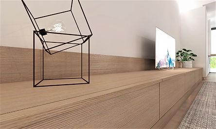 Ontwerp tv-kast. Detail greep.