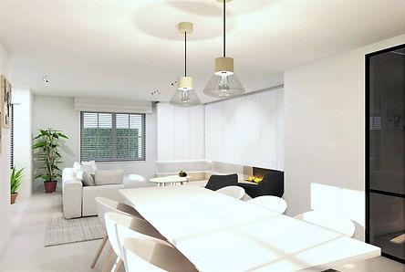 Ontwerp voor de renovatie van een woning. Zicht vanuit de eetkamer naar de woonkamer.