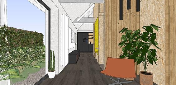 Een lounge plek met zicht op groen om even tot rust te komen is een aanrader in elk kantoor.  Met akoestische gordijnen afsluitbaar voor meer privacy.