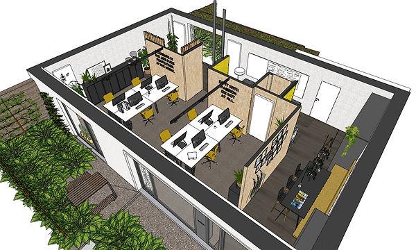 De coworking space van 80m² is ingericht volgens de principes van activity-based working om productiviteit en gezondheid te bevorderen.