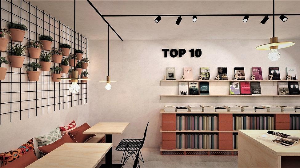 Conceptontwikkeling en ontwerp voor een boekenwinkel in Kortrijk.