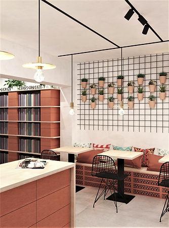 Circulaire inrichting van een boekenwinkel: de meubels bestaan uit gestapelde snelbouwstenen en multiplex.