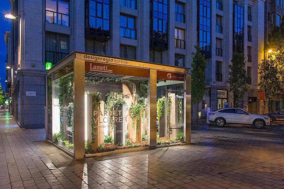 Ontwerp Kiosk Kortrijk voor Lamett op basis van de slogan 'close to nature'.