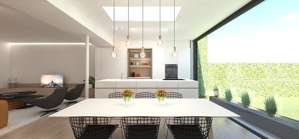 Leefruimte van een rijwoning ontworpen door M-INT interieurarchitecten.