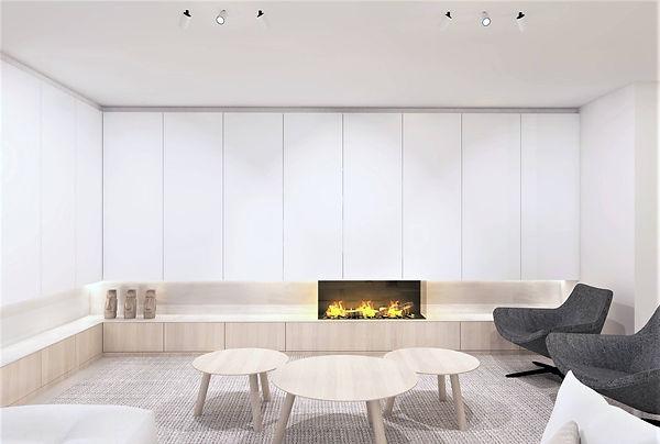 3D-beeld van het ontwerp van een woonkamer met haardwand.