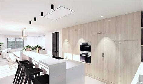Ontwerp open keuken: aan het eiland is een toog voorzien die het werkblad uit het zicht van de woonkamer houdt.