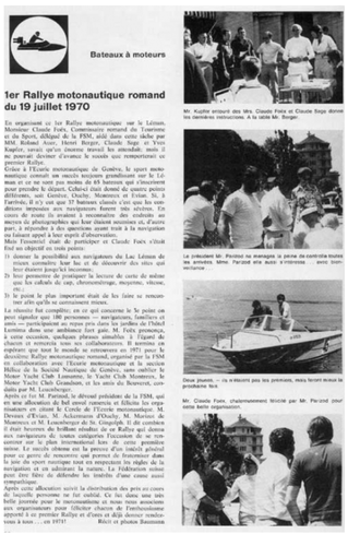 1er Rallye Motonautique Romand (1970)