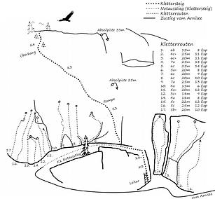 Karte kletterrouten kletterpark arnisee.