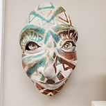 fanciful mask, iridescent lines