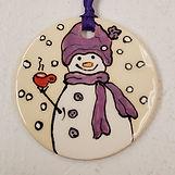 ornament, snowman holding mug