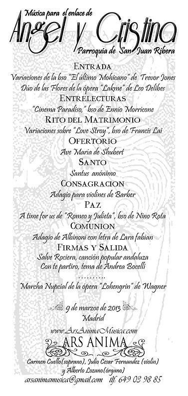Ars Anima Musica: repertorio para bodas, original, romántico y emocional.