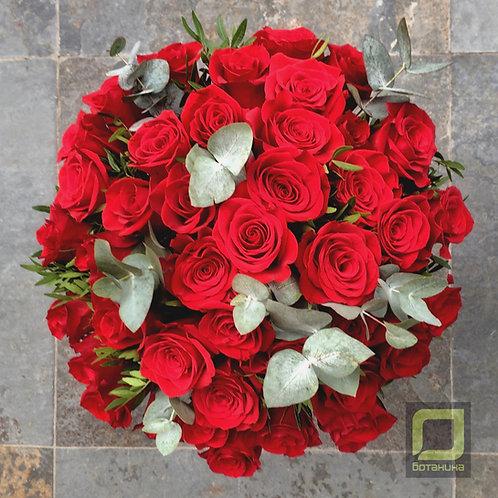 Букет роз в шляпной коробке. 061.