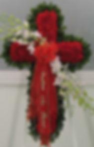 Траурный крест из цветов СПб, Крест из живых цветов СПб, Траурный венок СПб, Траурная флористика СПб.