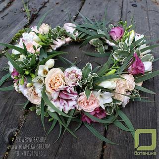 Ботаника, свадебный венок невесты, цветочный венок, плетение из цветов, букет невесты, свадебное оформление цветами