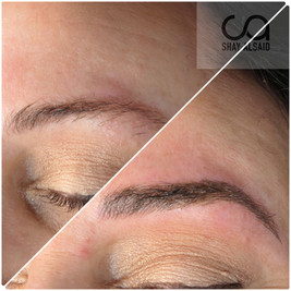 Medium brown microblading on a client