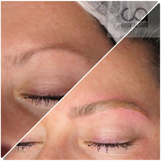 Full microblading on a blonde client