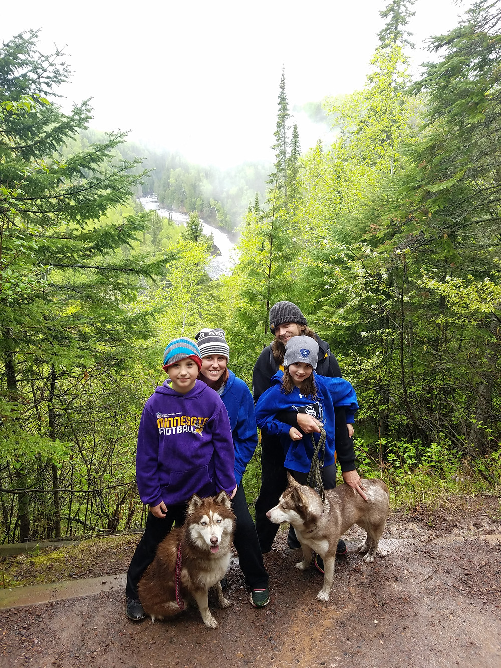 Cold and wet but still smiles at Devil's Kettle