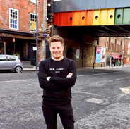 Promoting the Mr. Right vs. Mr. Right Now campaign by the Rainbow Bridge in Leeds, Lower Briggate