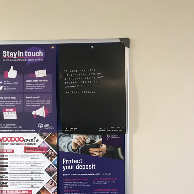 Postering on campus at Leeds Beckett