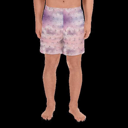 Rock Mercury Purple Sky Men's Athletic Long Shorts