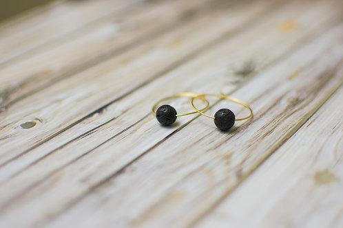 Lava Bead Hoop Earrings