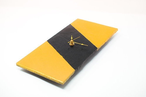 Slate Clock - Gold Angles