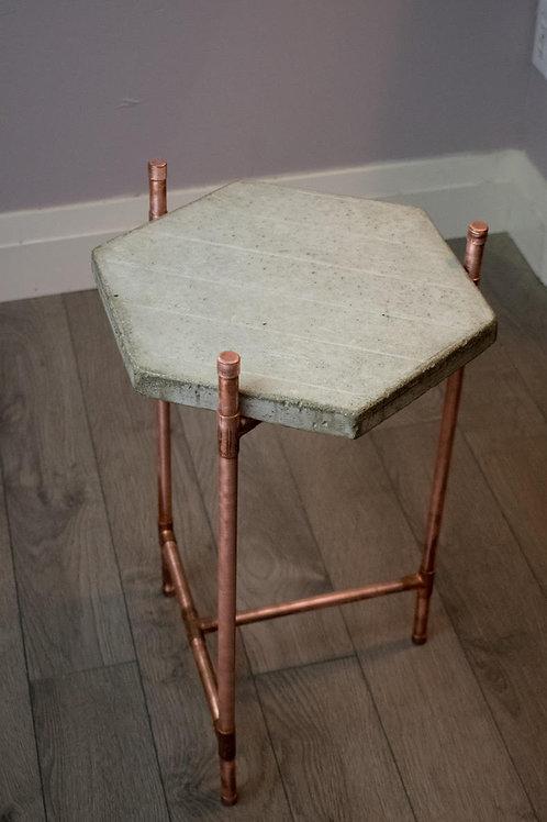 Copper & Concrete Hexo Side Table